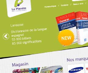 Creation site web  La  planete des fournitures